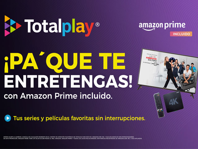 Totalplay suma dentro de sus nuevos planes a Amazon Prime